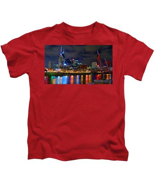 Nashville After Dark Kids T-Shirt by Frozen in Time Fine Art Photography
