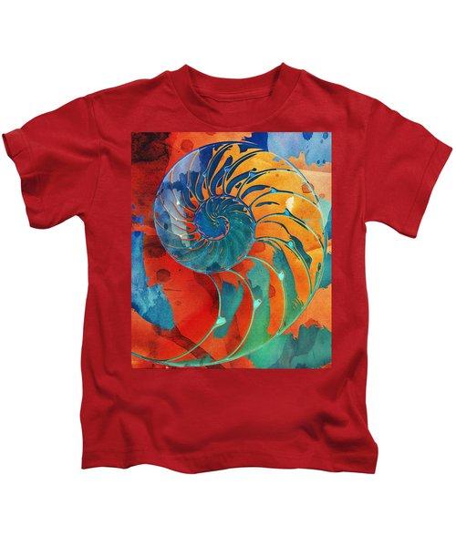 Nautilus Shell Orange Blue Green Kids T-Shirt