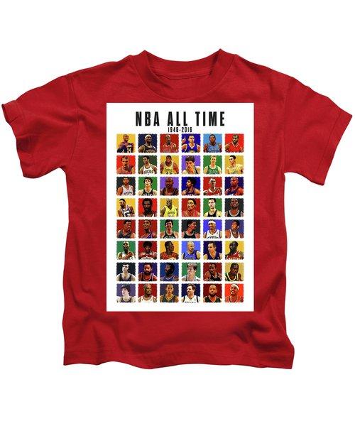 Nba All Times Kids T-Shirt by Semih Yurdabak