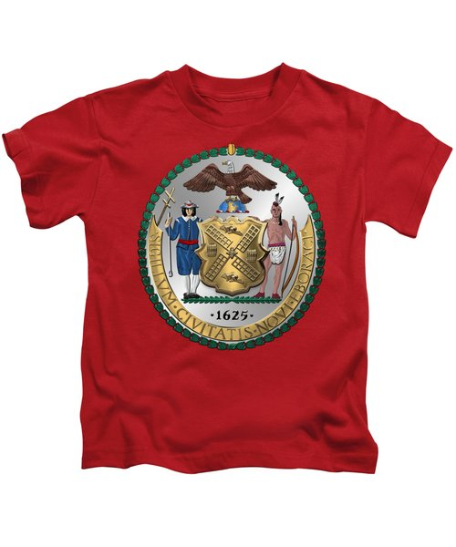 New York City Coat Of Arms - City Of New York Seal Over Red Velvet Kids T-Shirt by Serge Averbukh