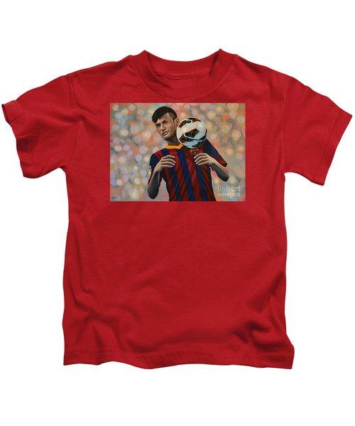 Neymar Kids T-Shirt by Paul Meijering
