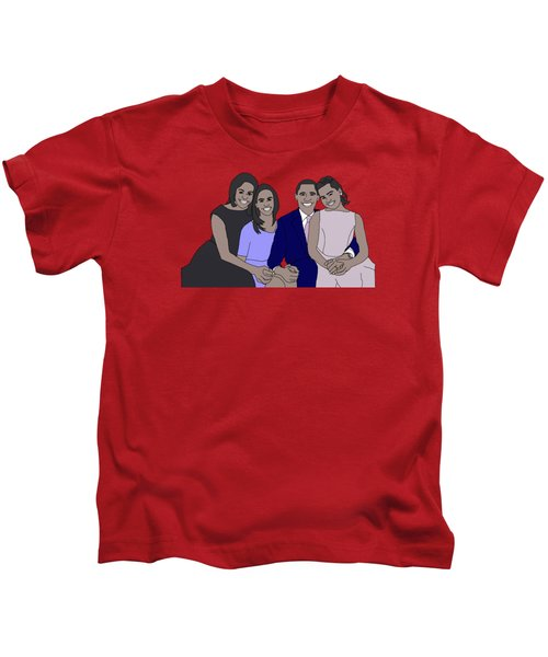 Obama Family Kids T-Shirt by Priscilla Wolfe