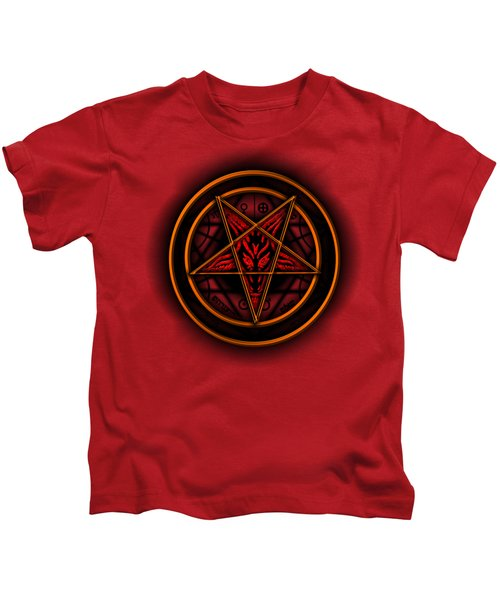 Occult Magick Symbol On Red By Pierre Blanchard Kids T-Shirt by Pierre Blanchard