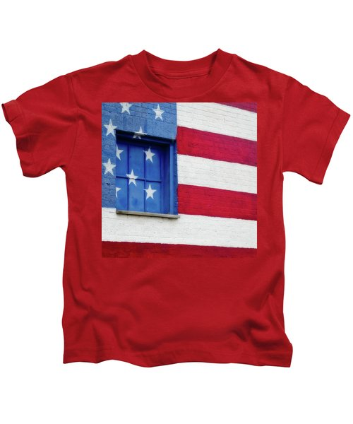 Old Glory, American Flag Mural, Street Art Kids T-Shirt