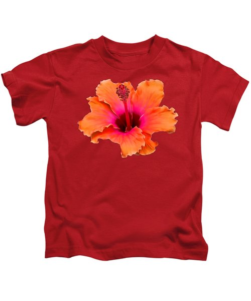 Orange And Pink Hibiscus Kids T-Shirt