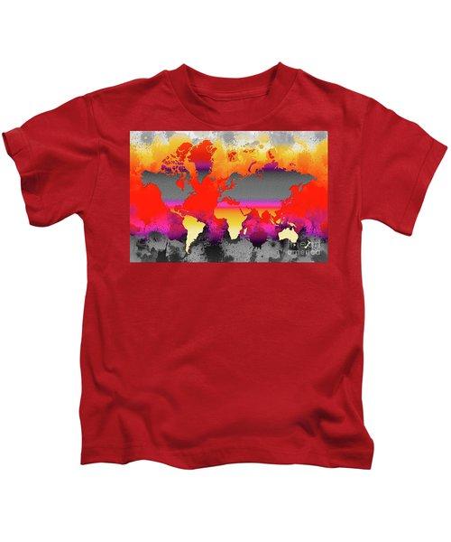 Orange Glow World Map Kids T-Shirt