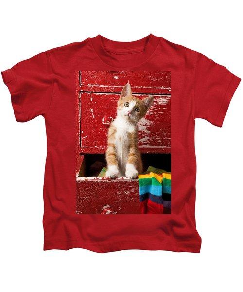 Orange Tabby Kitten In Red Drawer  Kids T-Shirt