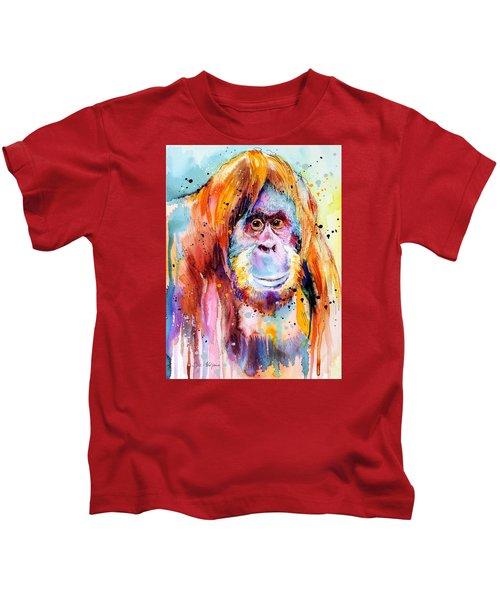 Orangutan  Kids T-Shirt by Slavi Aladjova