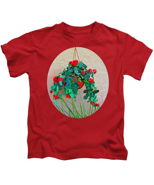 Oval Hanging Geraniums Basket With Dark Green Background Kids T-Shirt