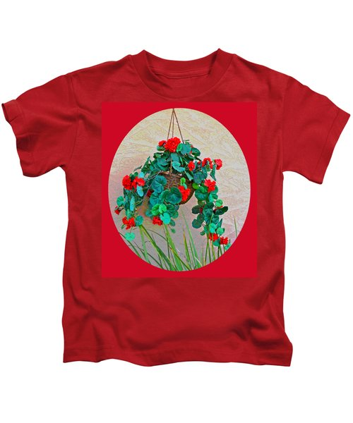 Oval Hanging Geraniums Basket With Red Background Kids T-Shirt