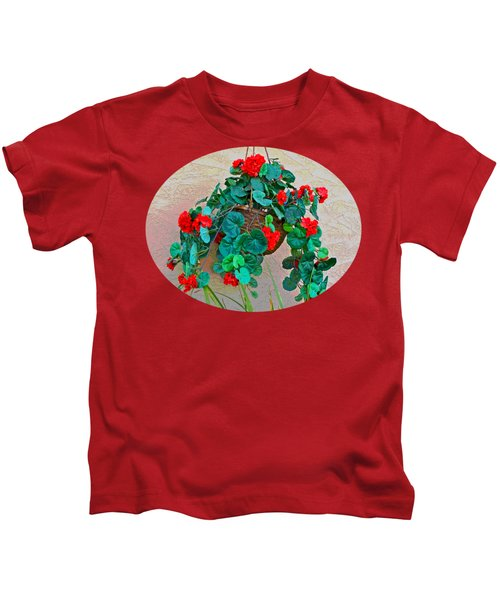Oval Hanging Geraniums With Red Background Kids T-Shirt