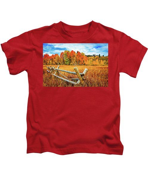 Oxbow Bend Fall Color Kids T-Shirt