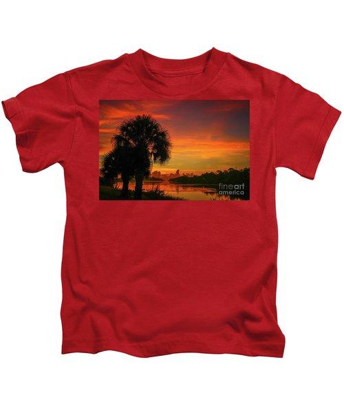 Palm Silhouette Sunrise Kids T-Shirt