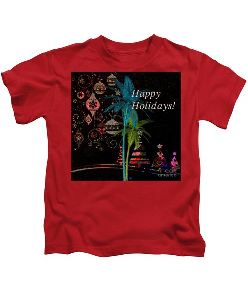 Palm Trees Happy Holidays Kids T-Shirt