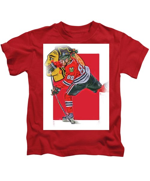 Patrick Kane Chicago Blackhawks Oil Art Series 1 Kids T-Shirt