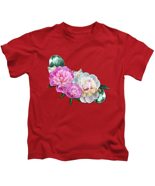 Peonies In Pink And Blue Kids T-Shirt