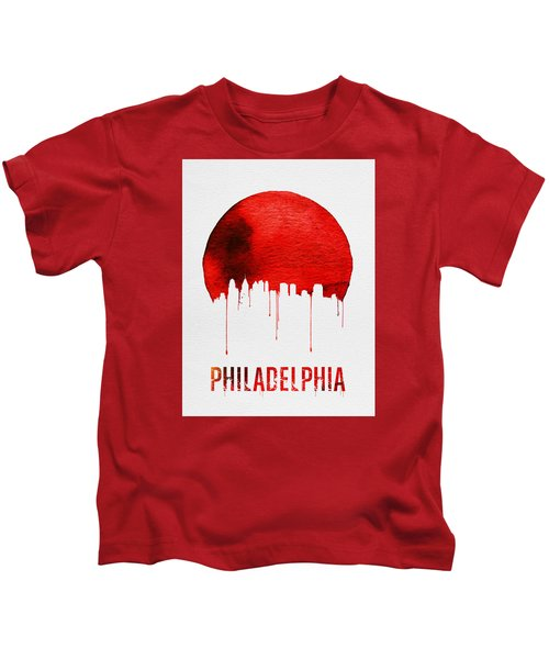 Philadelphia Skyline Redskyline Red Kids T-Shirt by Naxart Studio