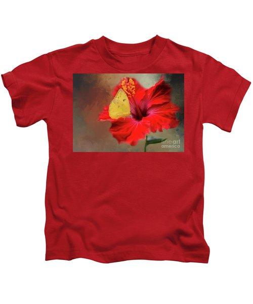Phoebis Philea On A Hibiscus Kids T-Shirt