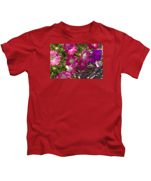 Pink And Purple Petunias Kids T-Shirt