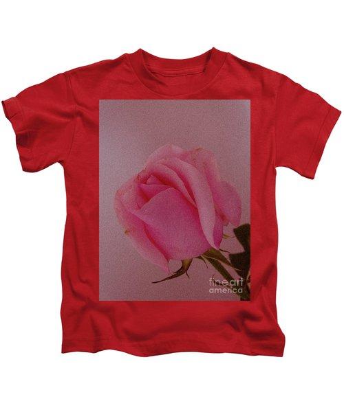 Pink Single Rose Kids T-Shirt