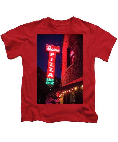 Pizzeria Regina Boston Ma North End Thacher Street Neon Sign Kids T-Shirt
