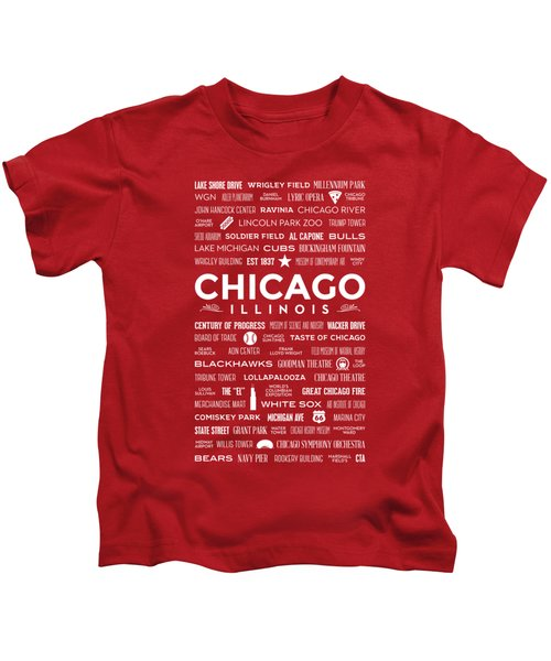 Places Of Chicago On Red Chalkboard Kids T-Shirt by Christopher Arndt
