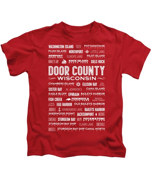 Places Of Door County On Red Kids T-Shirt by Christopher Arndt