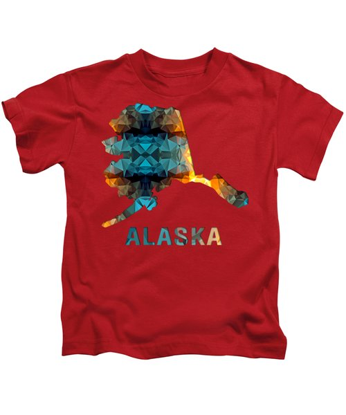 Polygon Mosaic Parchment Map Alaska Kids T-Shirt