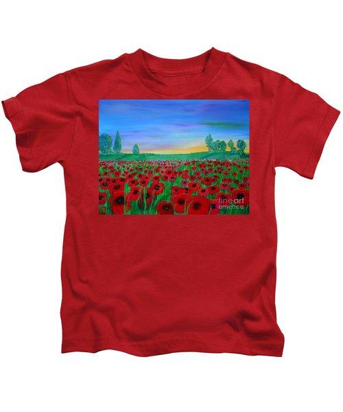 Poppy Field At Sunset Kids T-Shirt