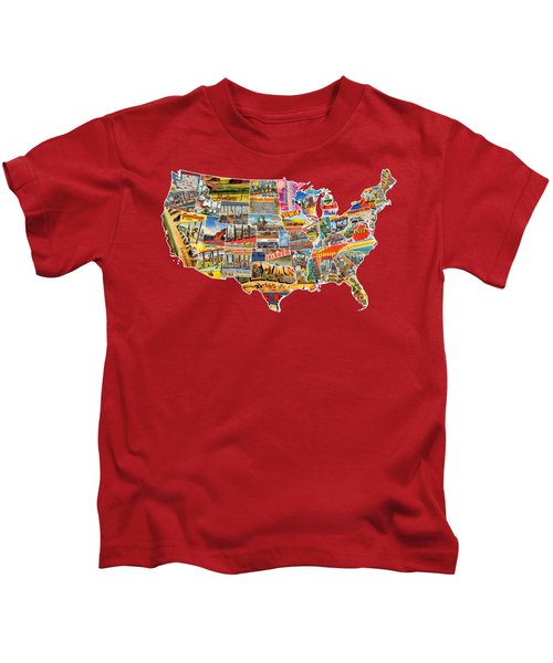 Postcards Of The United States Vintage Usa Lower 48 Map Choose Your Own Background Kids T-Shirt