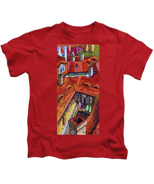 Prague Roofs 01 Kids T-Shirt