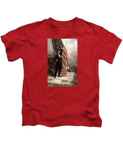 President Abraham Lincoln Giving A Speech Kids T-Shirt