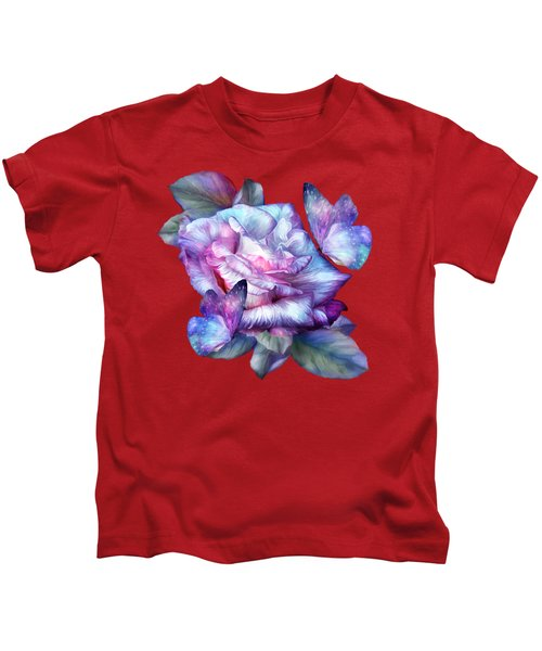 Purple Rose And Butterflies Kids T-Shirt by Carol Cavalaris