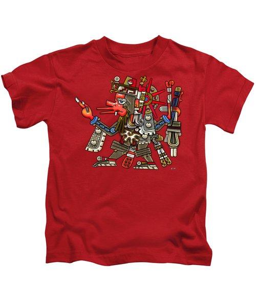 Quetzalcoatl In Human Warrior Form - Codex Borgia Kids T-Shirt by Serge Averbukh