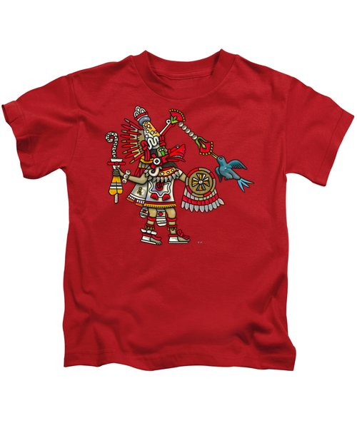 Quetzalcoatl In Human Warrior Form - Codex Magliabechiano Kids T-Shirt by Serge Averbukh