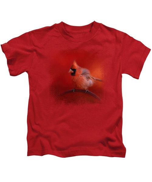 Radiant Red Bird Kids T-Shirt by Jai Johnson