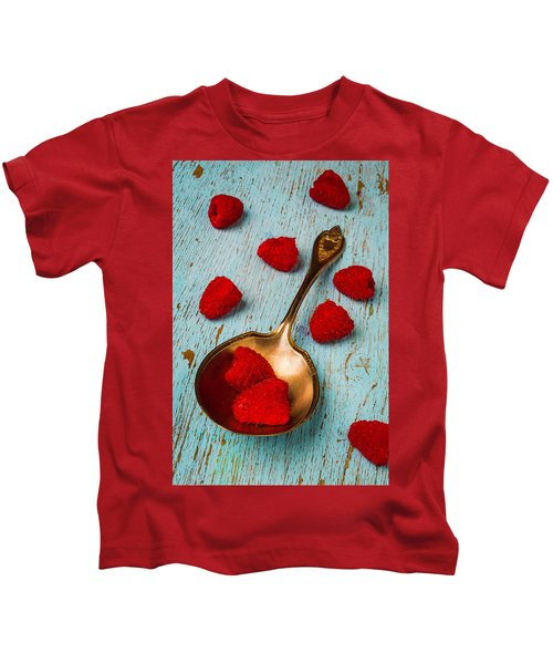 Raspberries With Antique Spoon Kids T-Shirt by Garry Gay