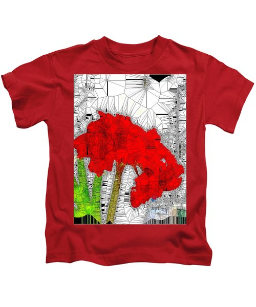 Red Amaryllis Stained Glass  Kids T-Shirt