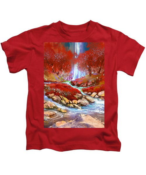 Kids T-Shirt featuring the painting Red Forest by Tithi Luadthong