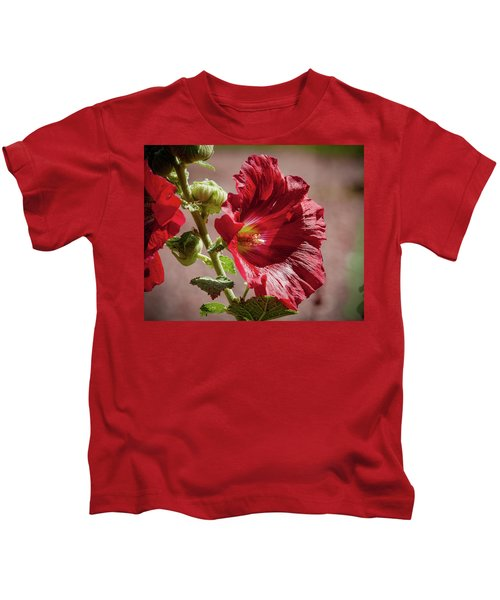 Red Hollyhocks Kids T-Shirt