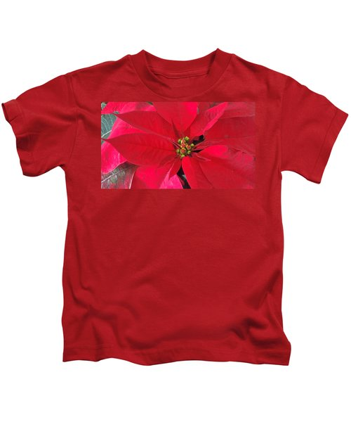Red Poinsettia Kids T-Shirt