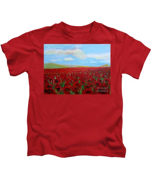 Red Poppies In Remembrance Kids T-Shirt