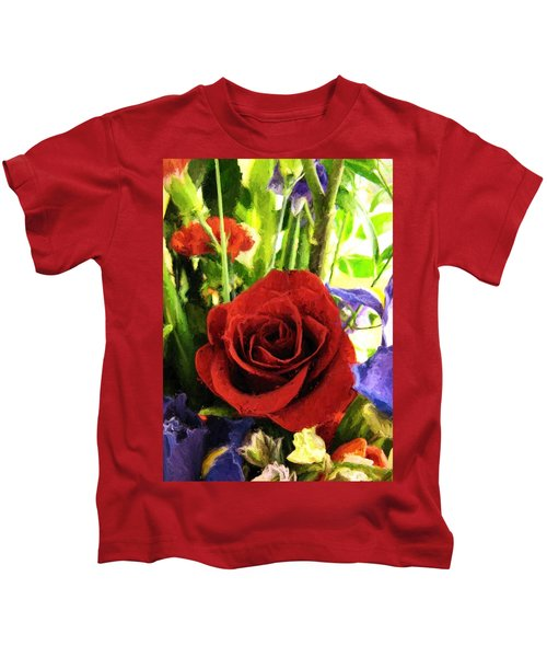 Red Rose And Flowers Kids T-Shirt