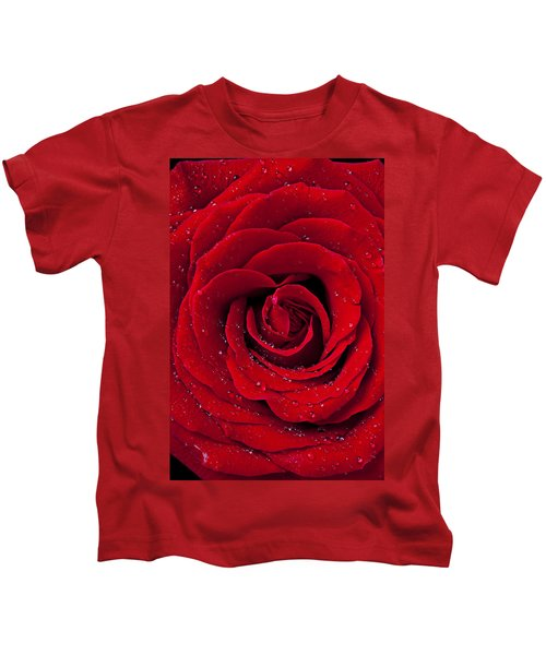Red Rose With Dew Kids T-Shirt