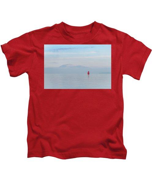 Red Sailboat On Lake Kids T-Shirt