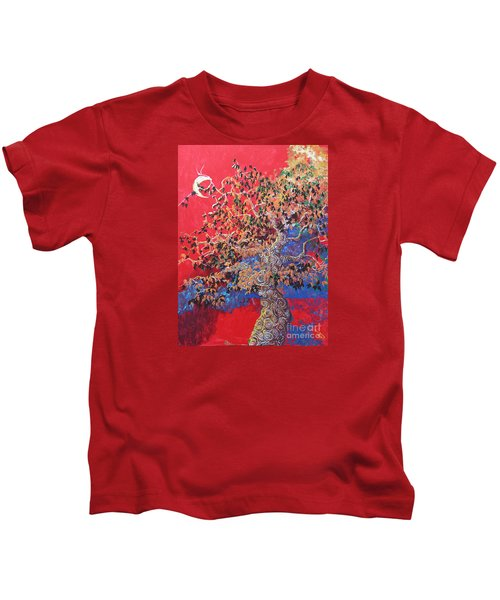 Red Sky And Tree Kids T-Shirt