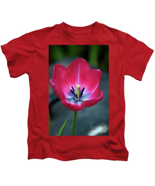 Red Tulip Blossom With Stamen And Petals And Pistil Kids T-Shirt
