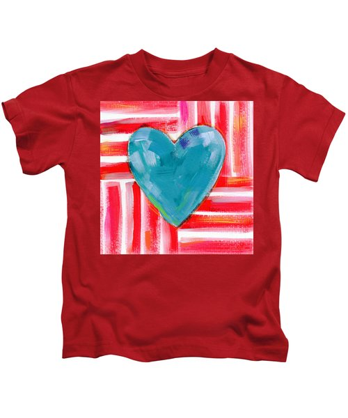 Red White And Blue Love- Art By Linda Woods Kids T-Shirt
