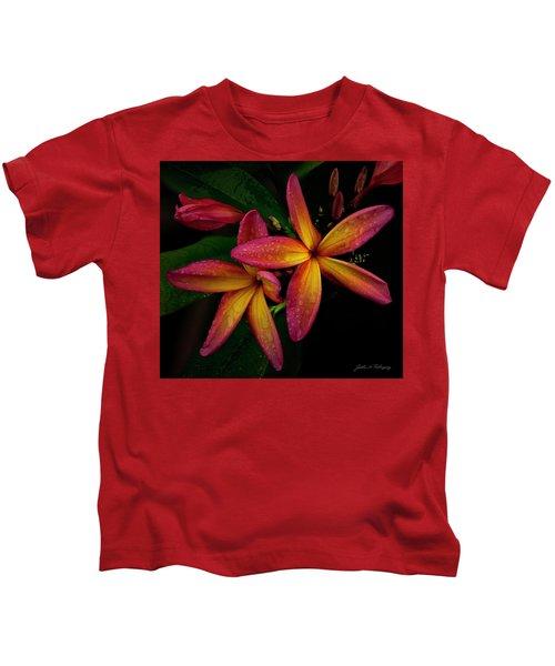 Red/yellow Plumeria In Bloom Kids T-Shirt