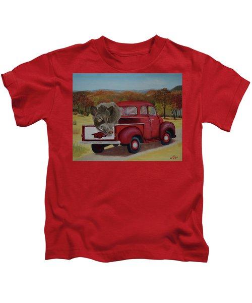 Ridin' With Razorbacks Kids T-Shirt by Belinda Nagy